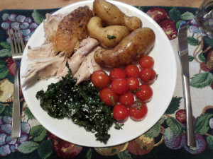 Roast Chicken from Thornhill farm, Peruvian Fingerling potatoes, Kale, Tomato and Basil Salad all from my garden